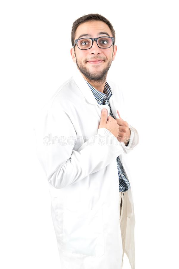 Nerd doctor isolated. Nerd doctor posing isolated in a white background stock image