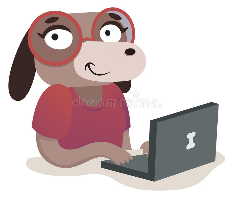 Nerd Dog Girl Using a Computer. Vector illustration of an expressive cartoon dog using a computer royalty free illustration