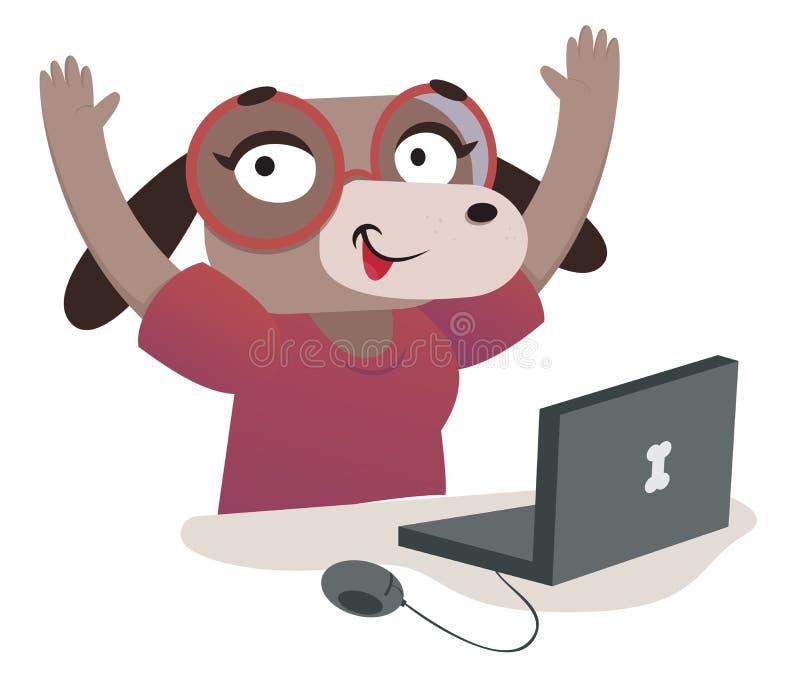 Nerd Dog Girl Using a Computer. Vector illustration of an expressive cartoon dog using a computer vector illustration