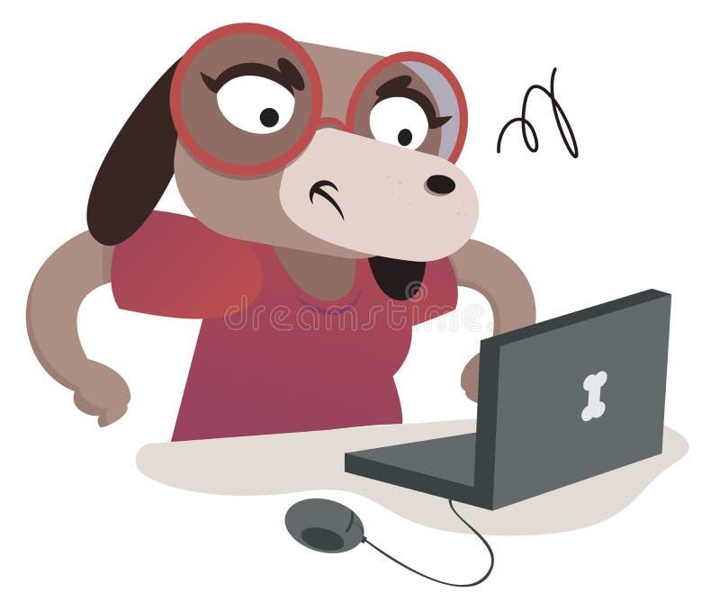 Nerd Dog Girl Using a Computer. Vector illustration of an expressive cartoon dog using a computer stock illustration