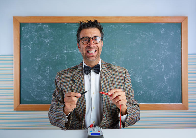 Nerd electronics technician retro silly expression royalty free stock photo