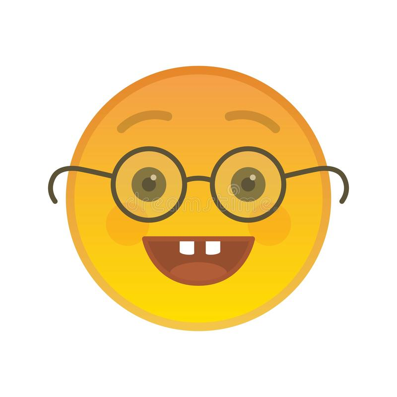 Nerd emoticon with glasses isolated element royalty free illustration