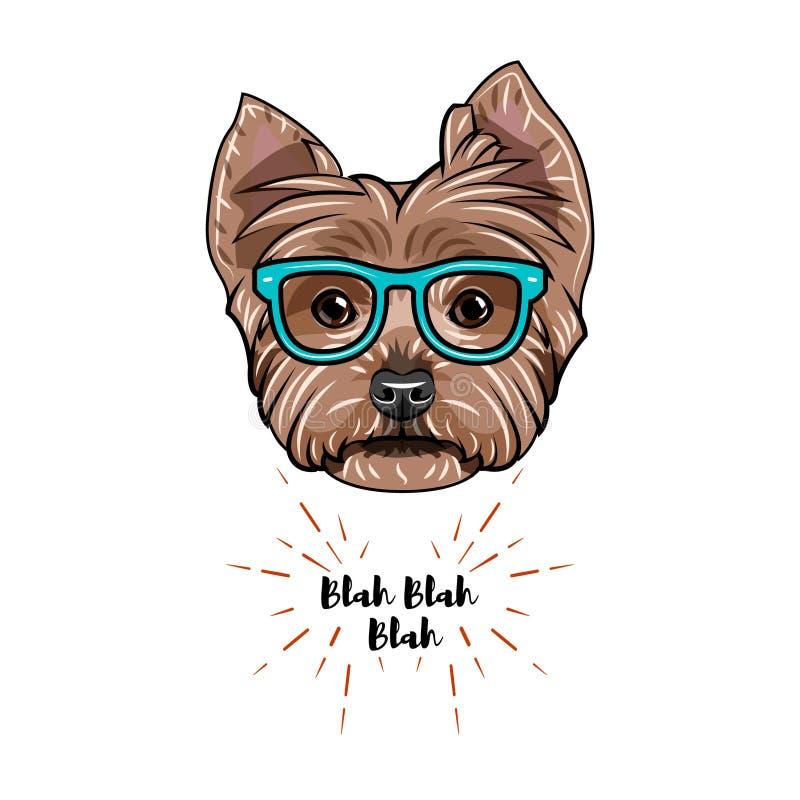 Nerd för Yorkshire terrier Smarta exponeringsglas Hundgeekstående vektor stock illustrationer