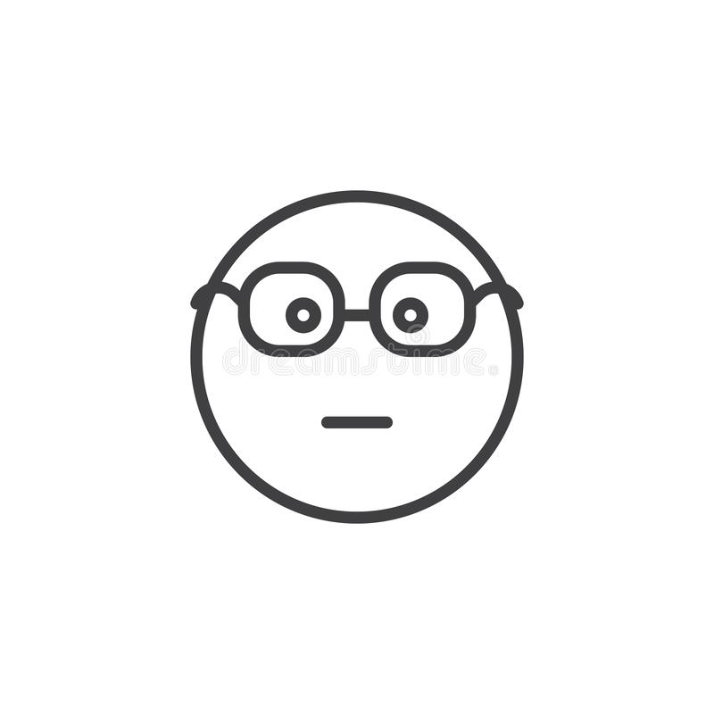 Nerd Face Emoji line icon. Linear style sign for mobile concept and web design. Cute Emoticon with Glasses outline vector icon. Symbol, logo illustration stock illustration