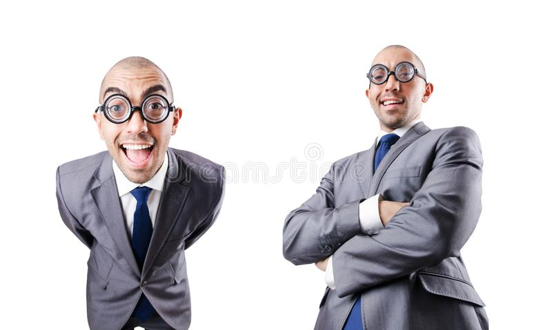 The nerd funny businessman on white. Nerd funny businessman on white stock photography