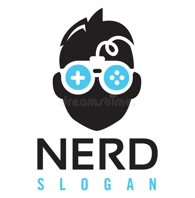 Nerd Gaming Logo. Nerd character face wearing a pair of nerd glasses that look like a gaming controller vector illustration