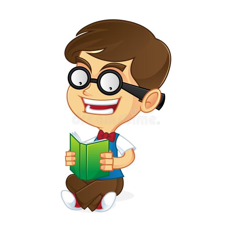 Nerd Geek read a book vector illustration