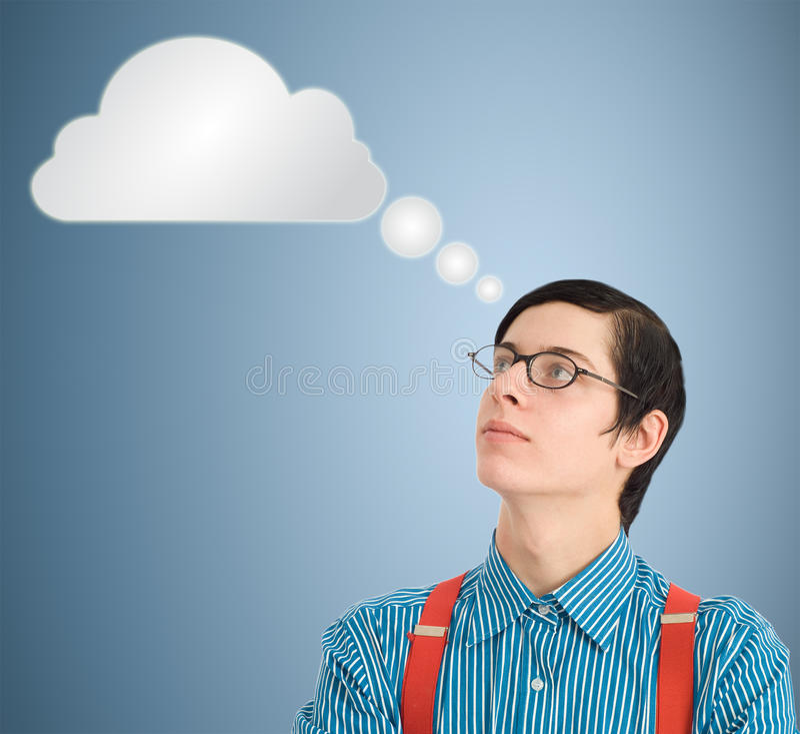 Nerd geek zakenman het denken wolk of gegevensverwerking stock foto's