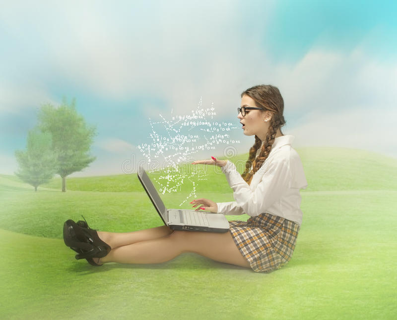 Download Nerd Girl Blogging In An Outdoor Place Stock Photo - Image: 40138964