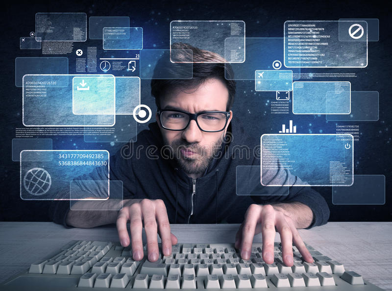 Nerd with glasses hacking websites. A confident young hacker working solving online password codes concept with a computer keyboard and illustrated digital stock images