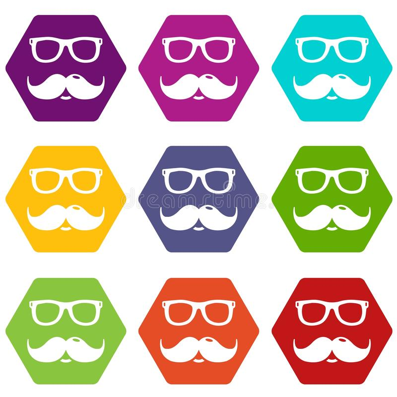 Nerd glasses mustaches icons set 9 vector stock illustration