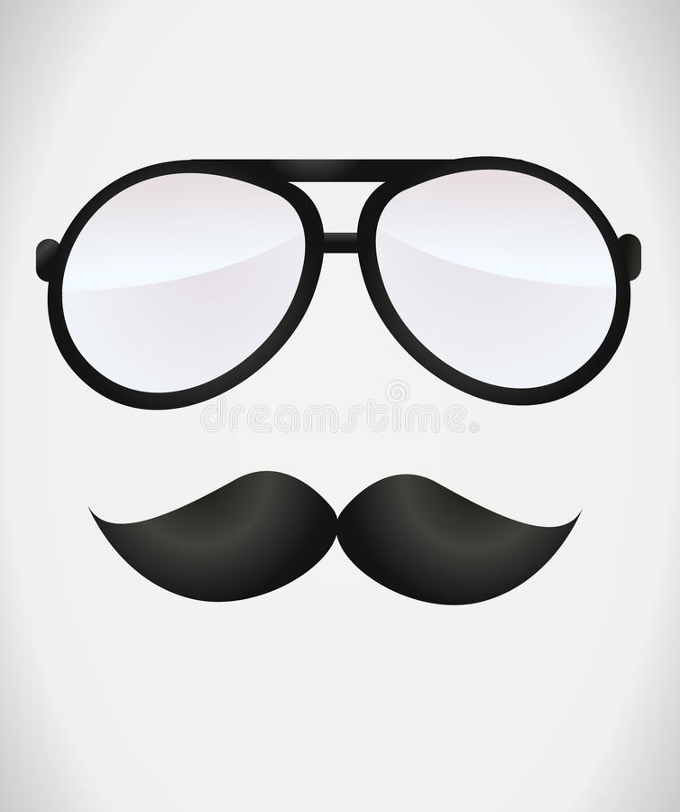 Nerd glasses and mustaches stock illustration