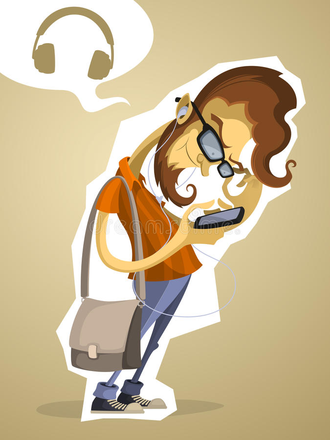 Nerd hipster with the phone and headphones stock illustration