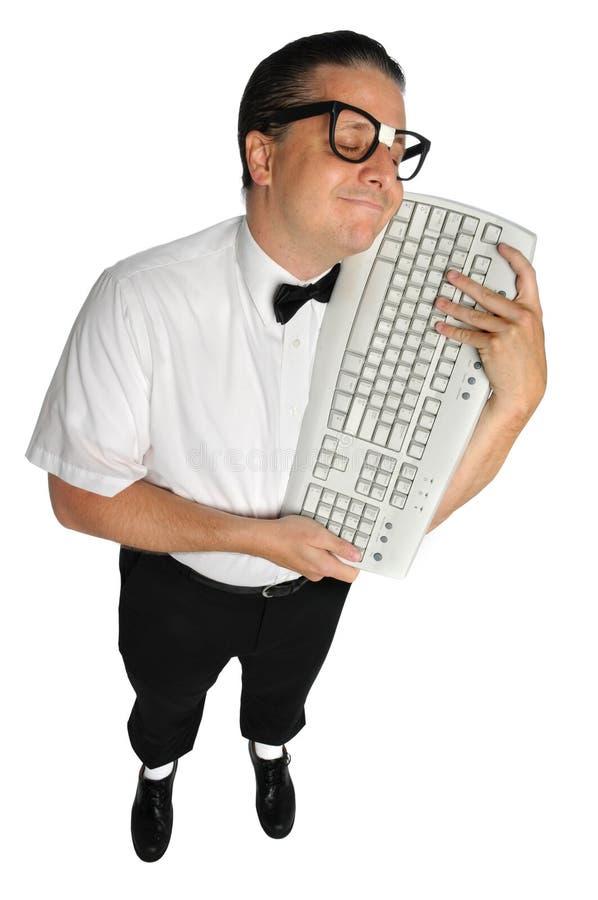 Download Nerd Holding Keyboard stock photo. Image of geek, glasses - 11879024