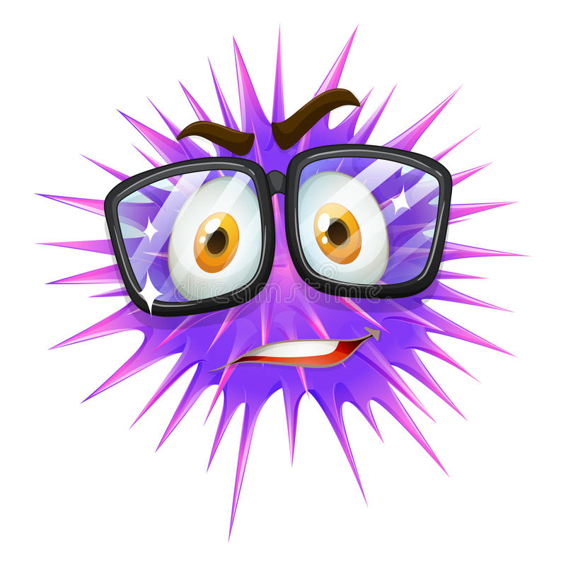 Nerd looking purple slime with thorns stock illustration