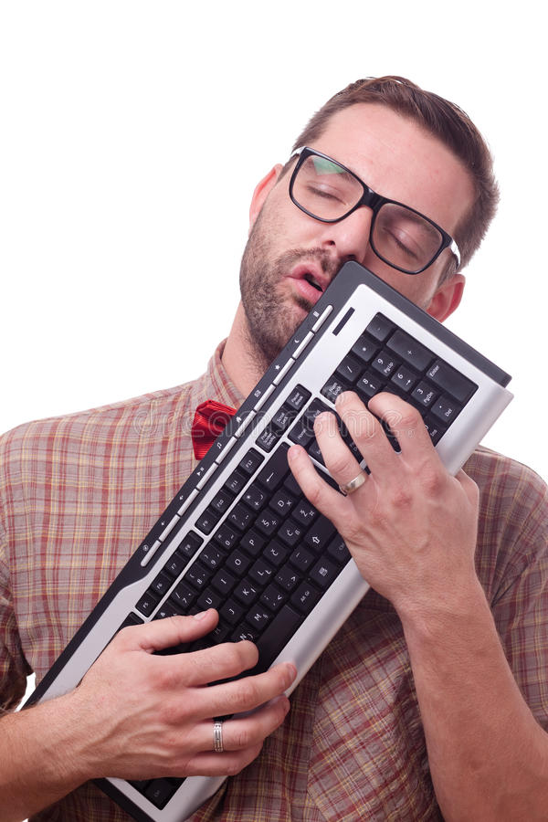 Download Nerd In Love With His Keyboard Stock Image - Image: 19879741