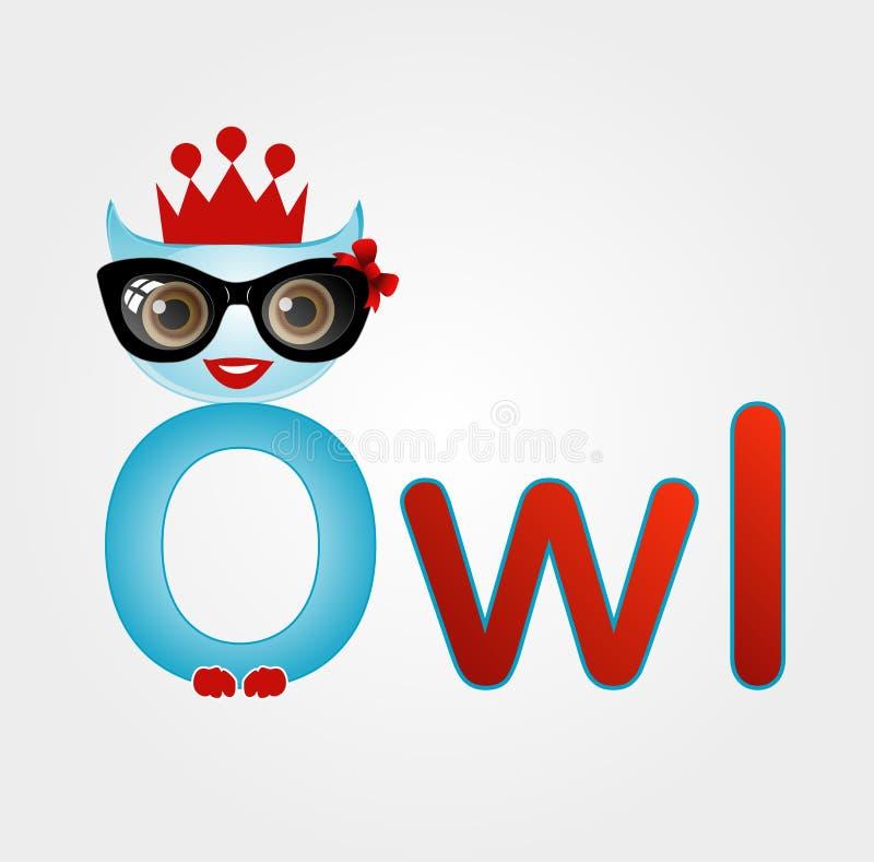 Nerd owl wearing a crown stock illustration