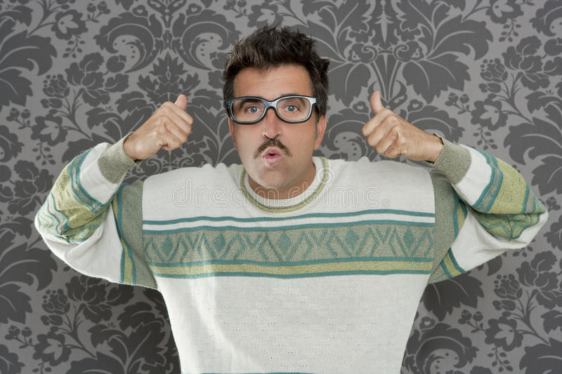 Download Nerd Pensive Silly Man Ok Gesture Retro Glasses Stock Image - Image: 19755185