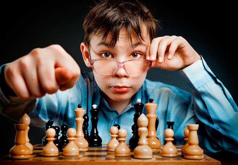 Download Nerd play chess stock photo. Image of child, rivalry - 11786852