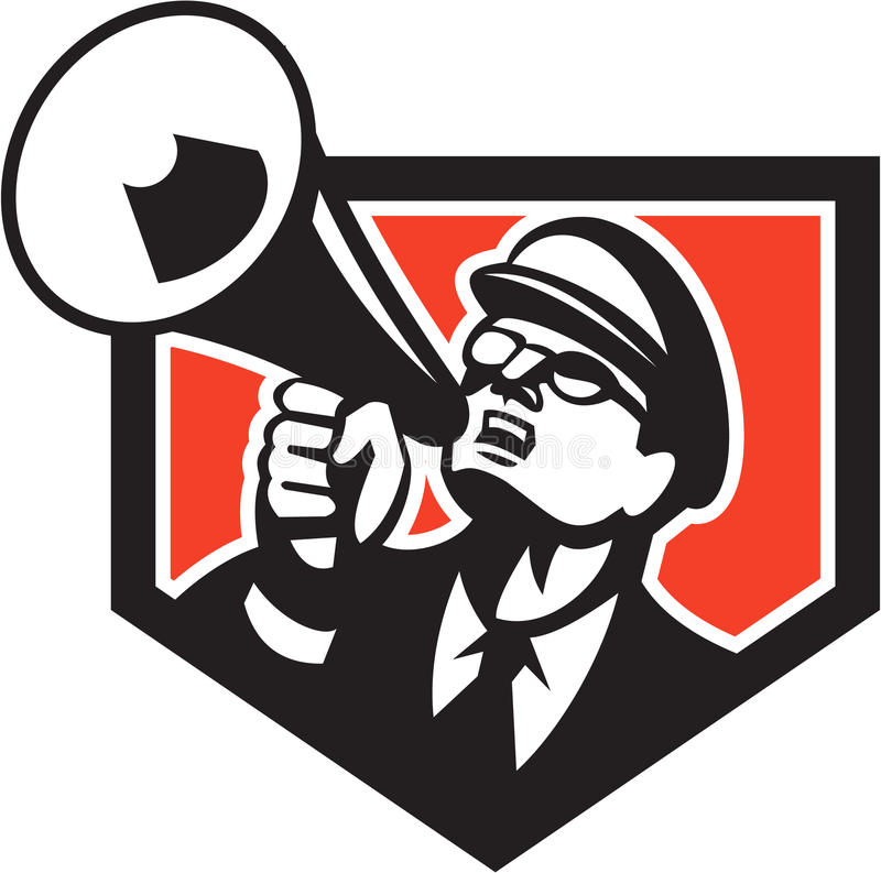 Nerd Shouting Megaphone Shield Retro. Illustration of a nerd man wearing hat and eye glasses looking up shouting through megaphone set inside shield crest on stock illustration
