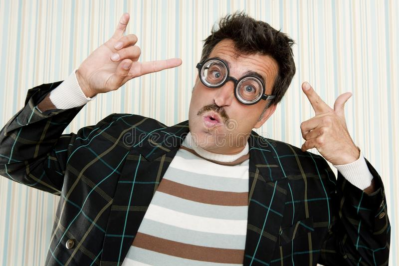 Download Nerd Silly Crazy Myopic Glasses Man Funny Gesture Stock Photo - Image: 19468782