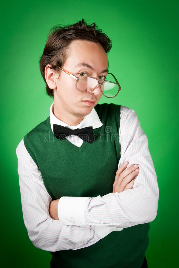 Download Nerd Is Standing With Crossed Arms Stock Image - Image: 11962019