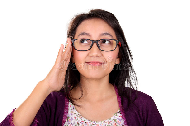 Nerd woman looking up isolated royalty free stock image