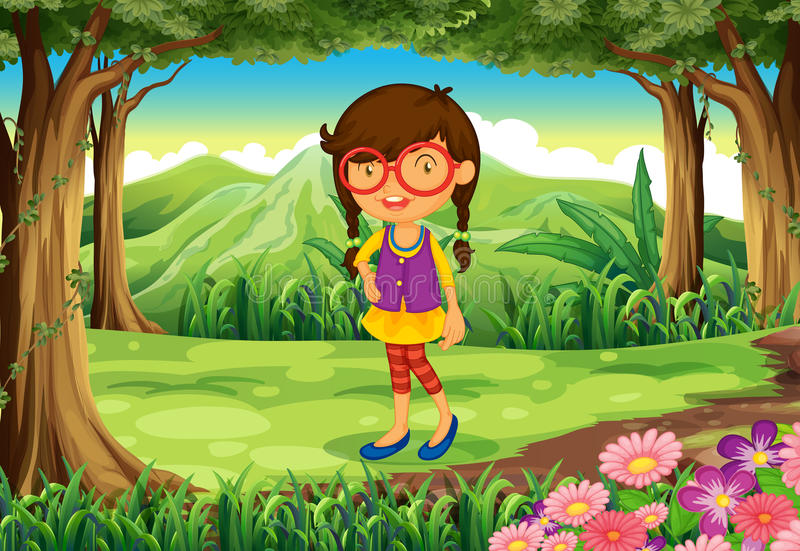 A nerd young lady at the forest stock illustration