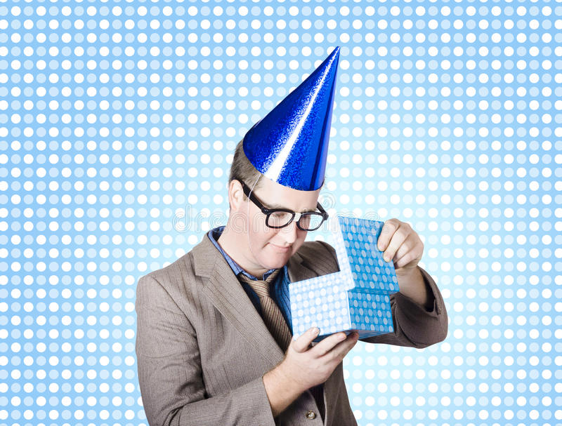 Download Nerdy Business Man Opening Surprise Present Stock Image - Image of looking, nerd: 31334233