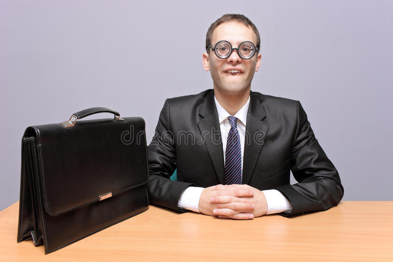 Nerdy businessman. In the office royalty free stock photos