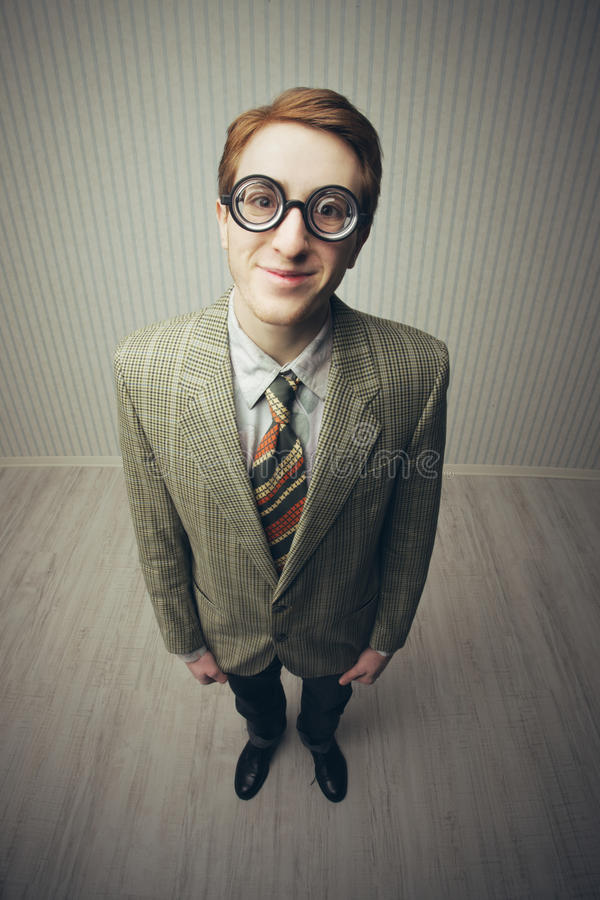 Nerdy businessman. Old style portrait royalty free stock photo