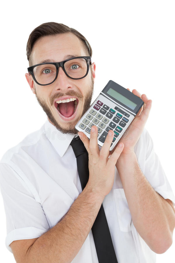 Nerdy excited businessman showing calculator. On white background stock photos
