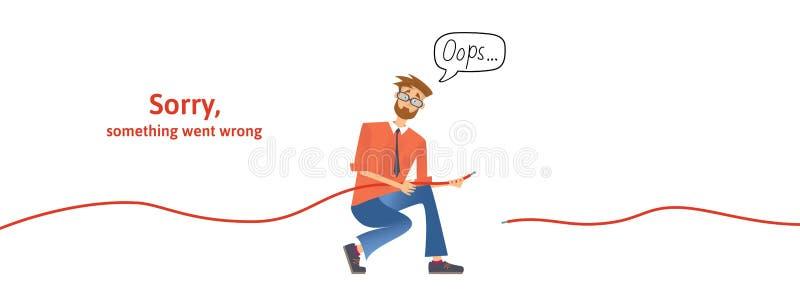 Nerdy grabb med disconnected kabel i hans händer Smsa varningsmeddelandet som är ledset något, gick fel Oops sida för 404 fel royaltyfri illustrationer