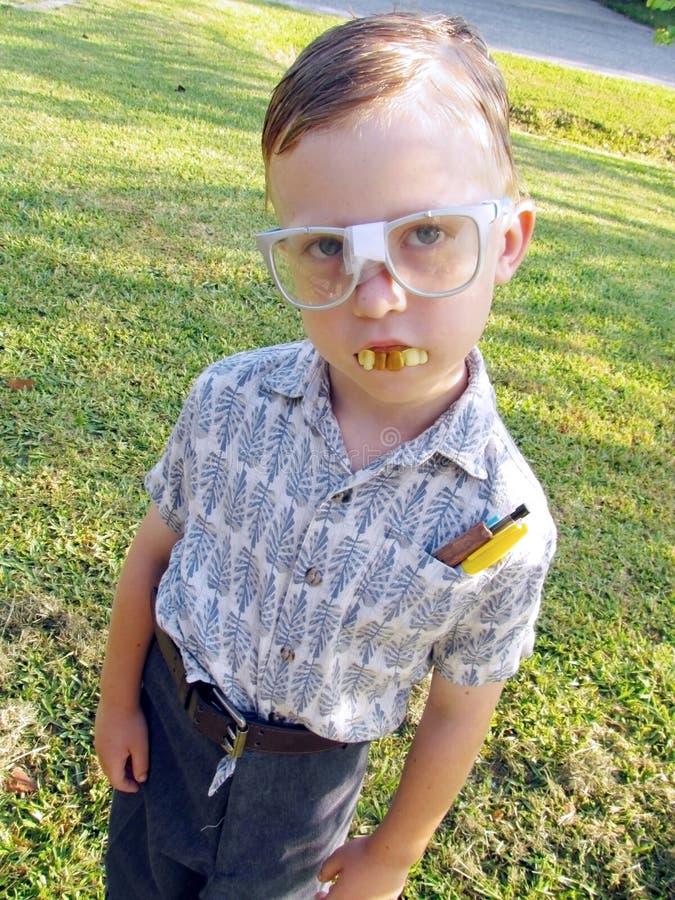 Nerdy Little Boy lizenzfreie stockfotos