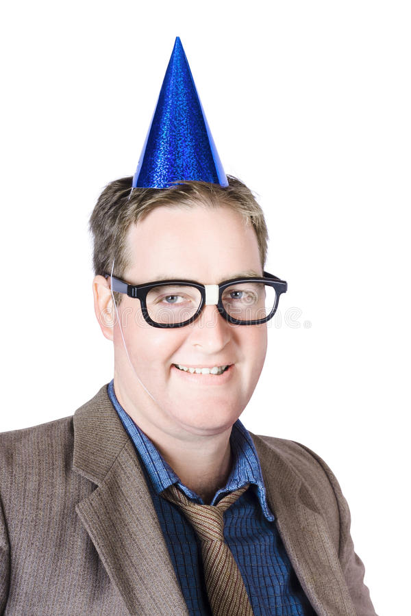 Nerdy Man At Work Christmas Party Stock Images