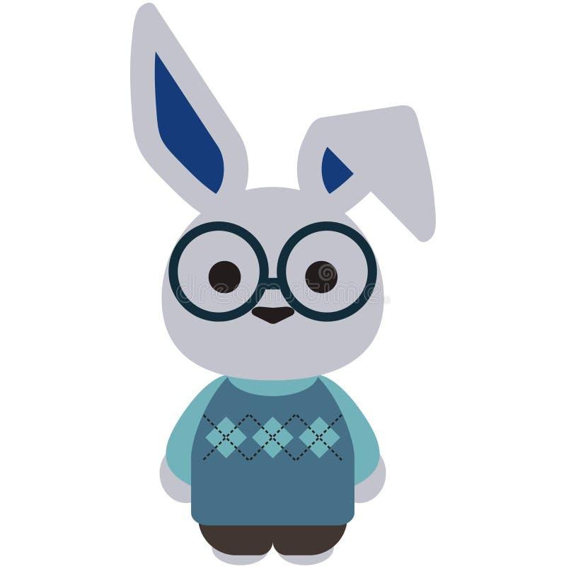 Nerdy vita Bunny Rabbit Illustration vektor illustrationer