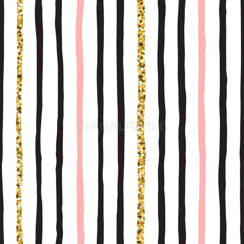 Nere, rosa, le bande verticali senza cuciture di vettore di scarabocchio dell'oro picchiettano royalty illustrazione gratis