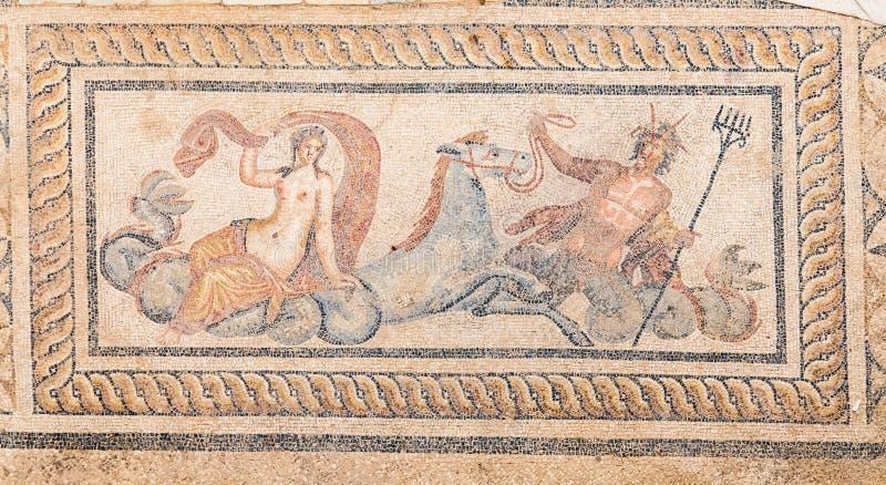 Nereid and Triton Mosaic in Terrace Houses, Ephesus Ancient City. In Izmir, Turkey stock photography
