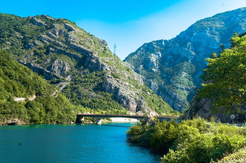 Neretva River in Bosnia. Landscape view of Neretva River by road in Bosnia and Herzegovina royalty free stock image