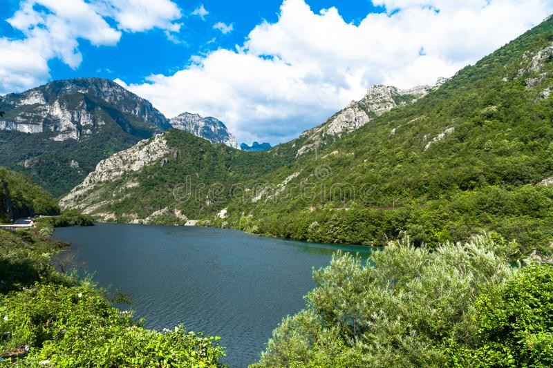 Neretva River in Bosnia. Landscape view of Neretva River by road in Bosnia and Herzegovina royalty free stock photo