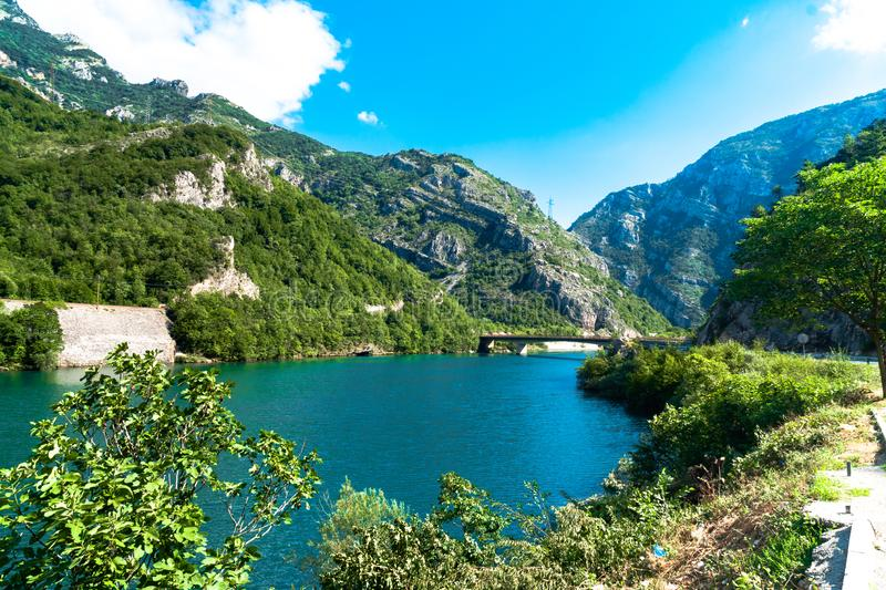 Neretva River in Bosnia. Landscape view of Neretva River by road in Bosnia and Herzegovina stock images
