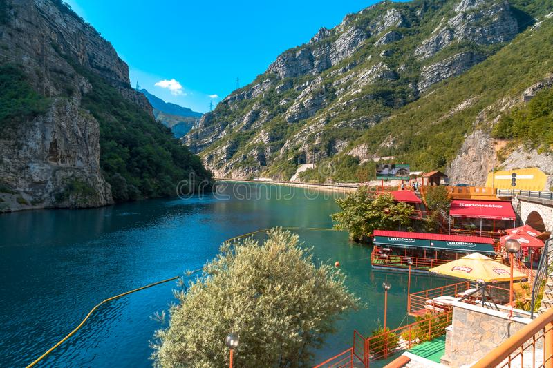 Neretva River in Bosnia. Landscape view of Neretva River by road in Bosnia and Herzegovina royalty free stock images