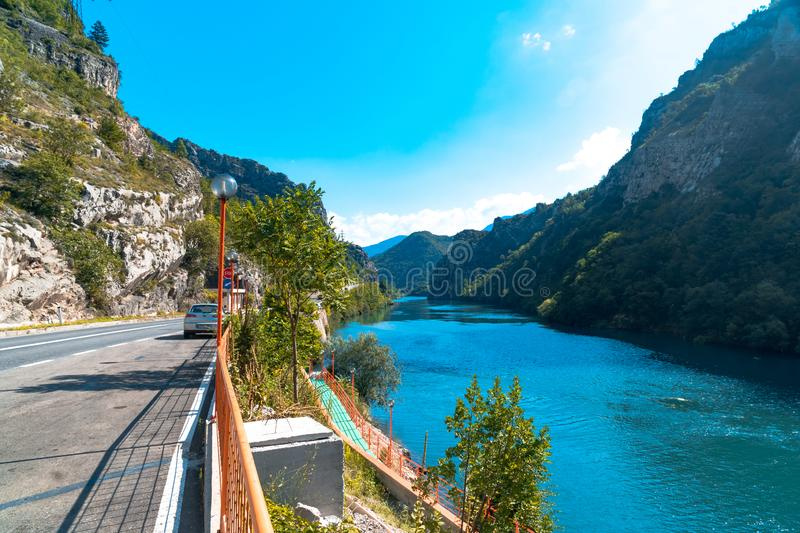 Neretva River in Bosnia. Landscape view of Neretva River by road in Bosnia and Herzegovina royalty free stock photography