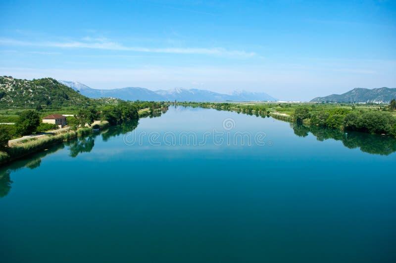 Neretva river in Croatia. Blue Neretva river in Croatia royalty free stock photo