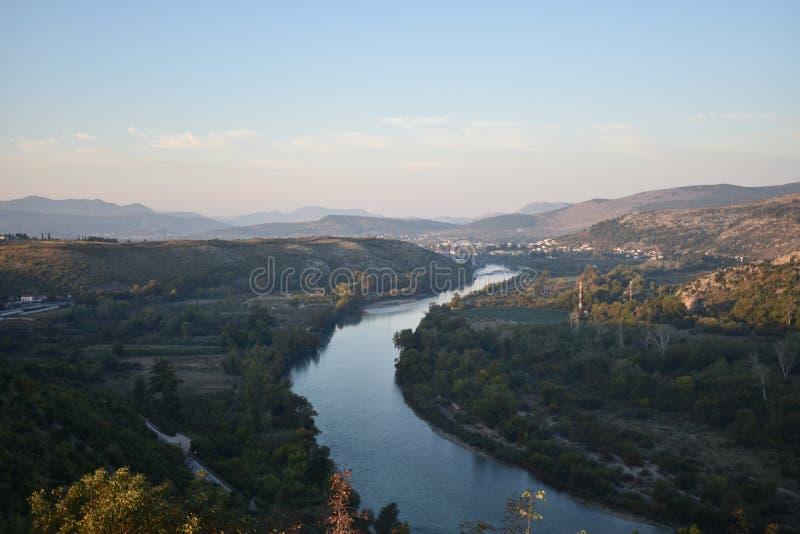 The Neretva river in the Herzegovina region near Capljina. Bosnia and Herzegovina royalty free stock photo