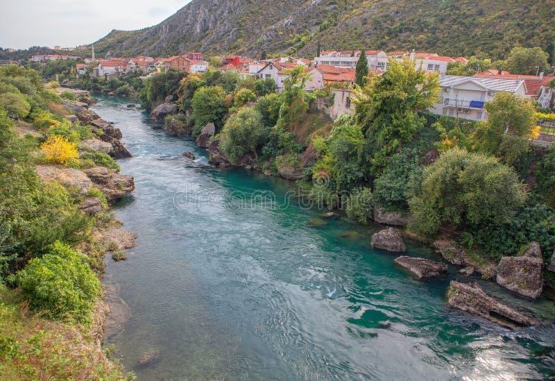Neretva river in Mostar. Scenery of Neretva river in Mostar town , Bosnia and Herzegovina stock photo