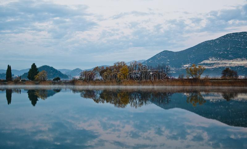 Neretva River passes through Opuzen and Rogotin. Croatia. The odor of the mountain in the water. the Mandarin Valley royalty free stock photography