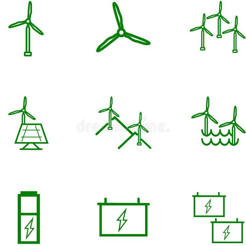 ?nergie ?olienne renouvelable Ensemble d'icône, chargeur pour le differentdesign illustration libre de droits