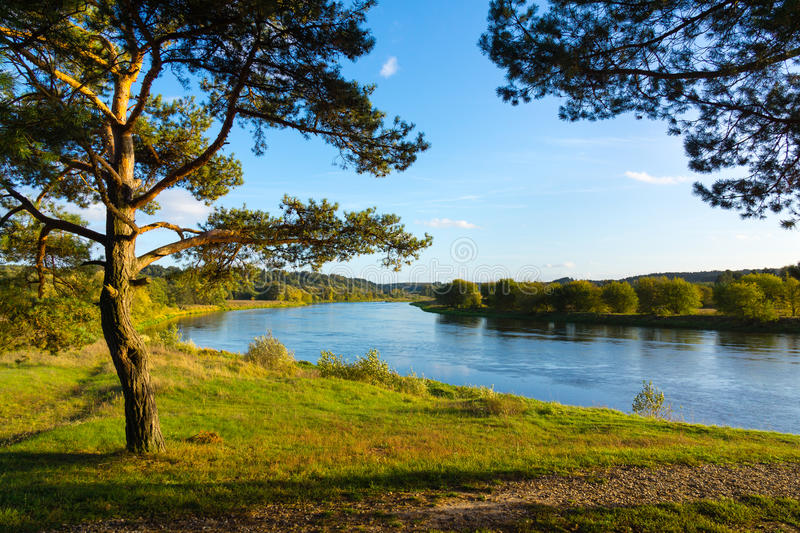 Neris River. September landscape of Neris River in Lithuania royalty free stock photo