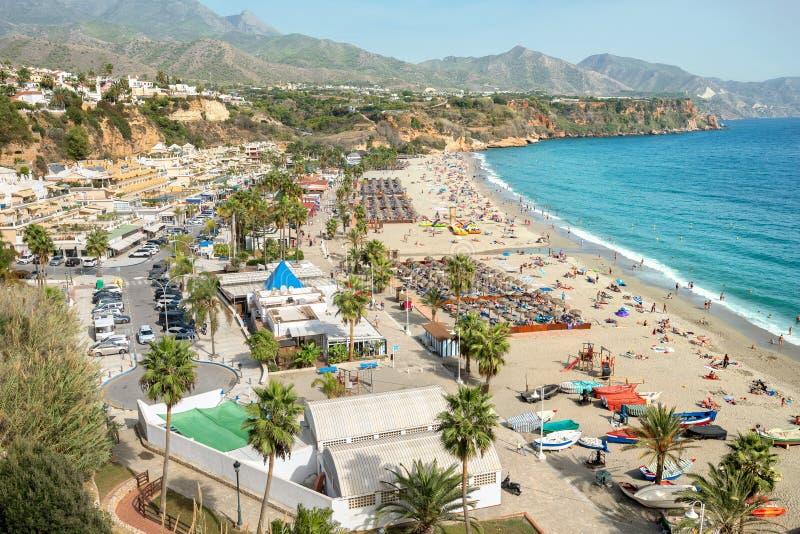 Nerja παραλία Επαρχία της Μάλαγας, Κόστα ντελ Σολ, Ανδαλουσία, Ισπανία στοκ φωτογραφία με δικαίωμα ελεύθερης χρήσης